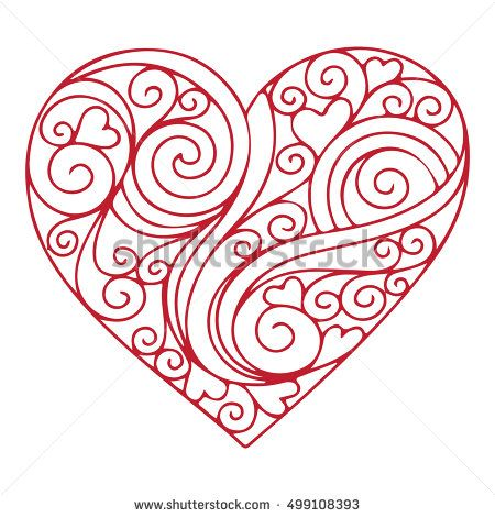 Floral heart vector illustration - Symbol of love and romance