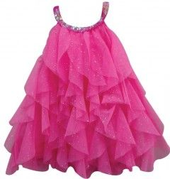 Hot Pink Layered Dress perfect for any party. www.princessdresses.com.au