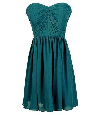 Teal Green Dress, Jade Green Dress, Teal Bridesmaid Dress, Teal Party Dress, Teal Strapless Dress, Teal Chiffon Dress, Teal Cocktail Dress, Teal A-Line Dress, Cute Teal Dress