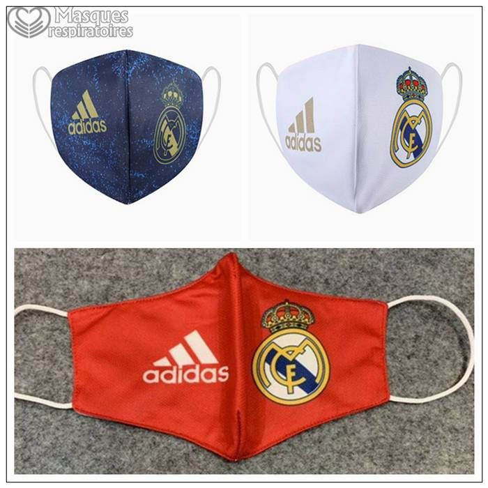 3 Pieces Real Madrid Masque Ffp2 Reutilisable Kn95 Real Madrid Madrid Football Facemask