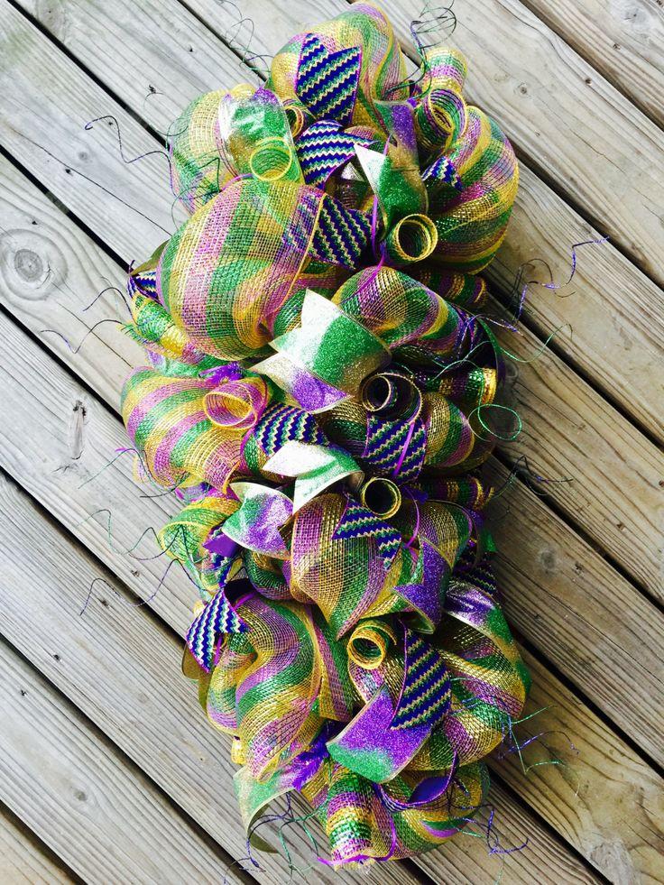 Beautiful Mardi Gras Swag Wreath- Ready to Ship! by KraftybyKelly on Etsy