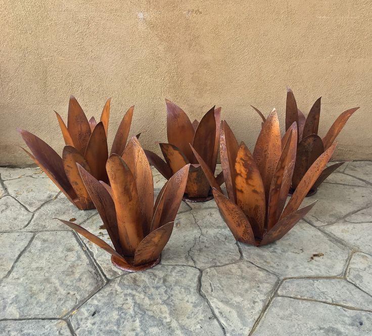 5 Agave Set,Metal Yard Art,Metal Garden Sculpture,Metal Cactus,Metal Agave,Garden Decor,Southwestern Decor, Rustic Design,topanga patina, by TopangaPatina on Etsy