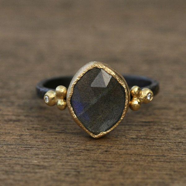 Yasuko Azuma Labradorite Ring in 18k and black rhodium with diamond accents
