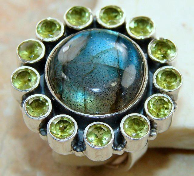 Labradorite & Peridot Cluster Ring