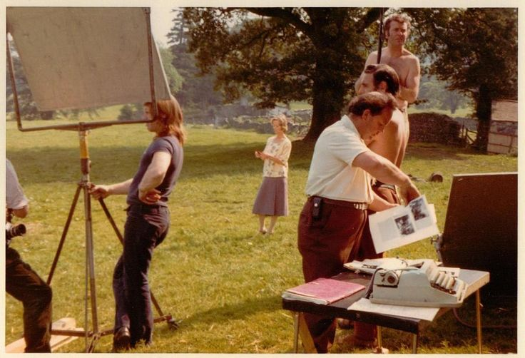 Virginia McKenna holding the 'If not Duffers' telegramme on location at Bank Ground Farm above coniston Water in Cumbria whilst filming SWALLOWS & AMAZONS in 1973