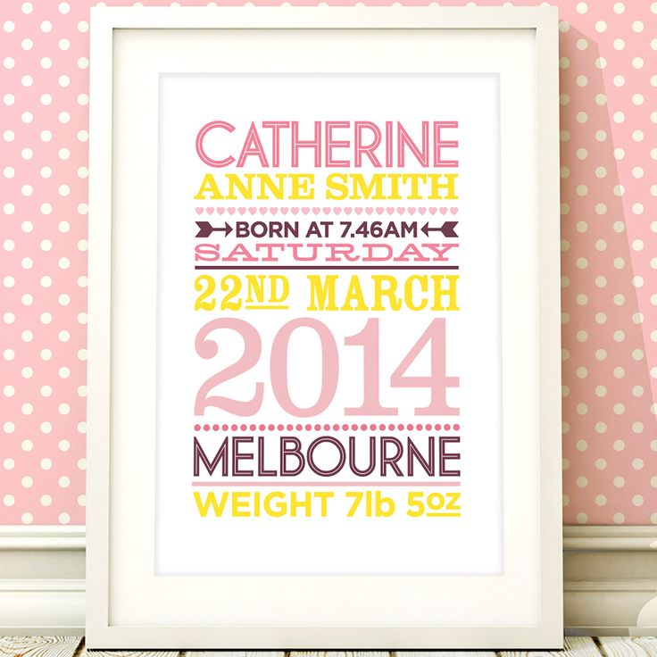 45 best personalised gifts for kids images on pinterest personalised baby birth stats nursery print negle Image collections
