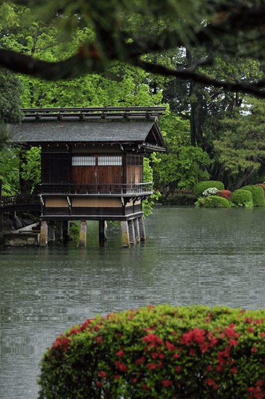 jardin japonais cabane sur pilotis jardins japonais animes pinterest. Black Bedroom Furniture Sets. Home Design Ideas