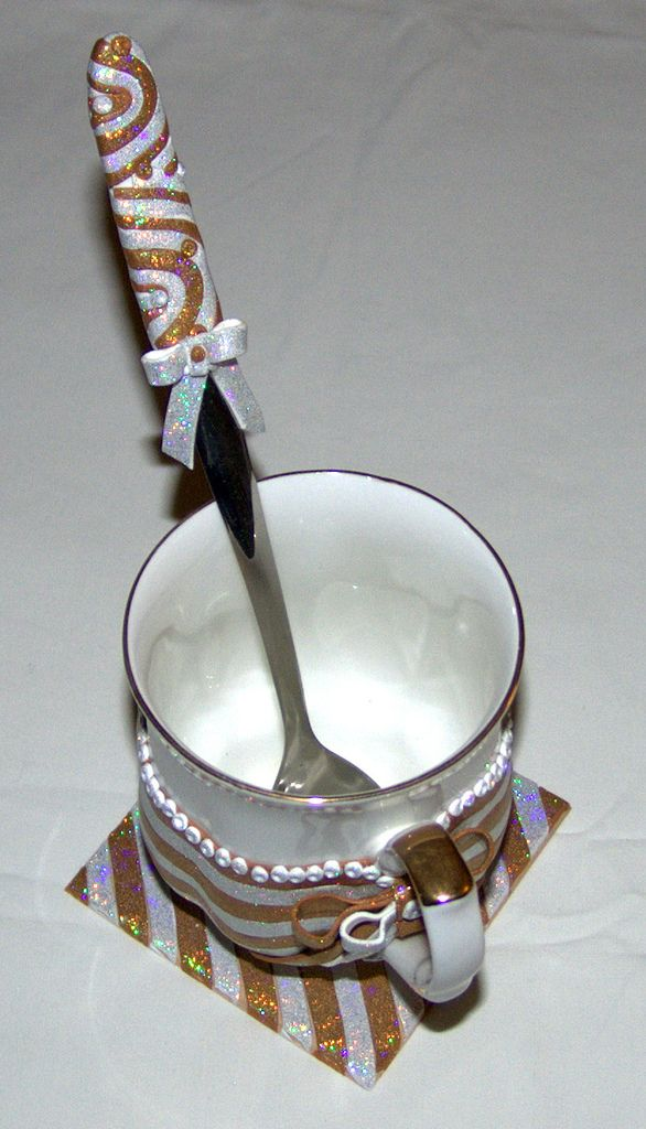 https://flic.kr/p/itFmHF | Royal mug set | Handmade polymer clay glittering set
