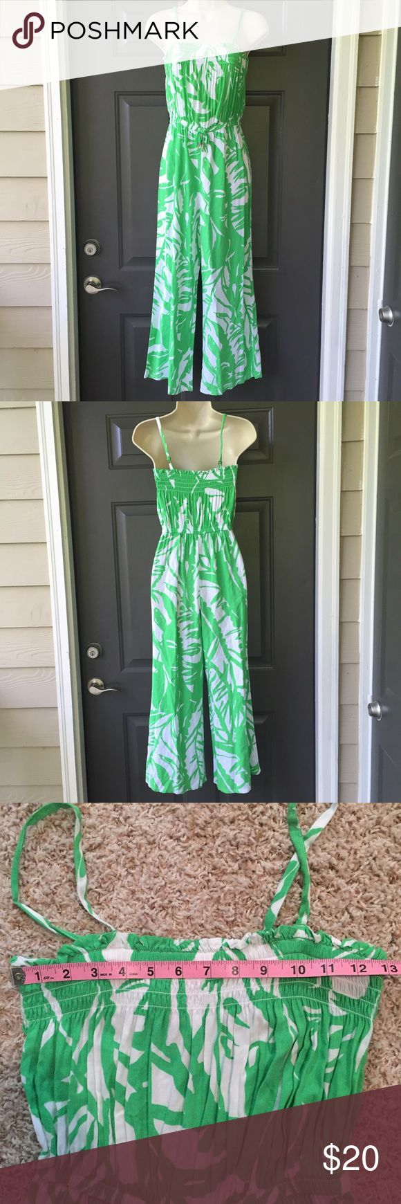LILLY PULITZER FOR TARGET Girls Jumpsuit Lilly Pulitzer for Target girls jumpsuit. Size large (10/12). Excellent condition. Elastic at the bust and elastic drawstring waist. Total length from shoulder strap with straps fully extended to hem is approximately 51 inches.  Could possibly fit a petite adult. Lilly Pulitzer Bottoms Jumpsuits & Rompers
