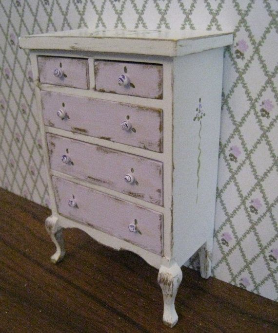 lavender tall chest --Shabby Chic Lavender,Lace and Roses pattern. Dollhouse mini