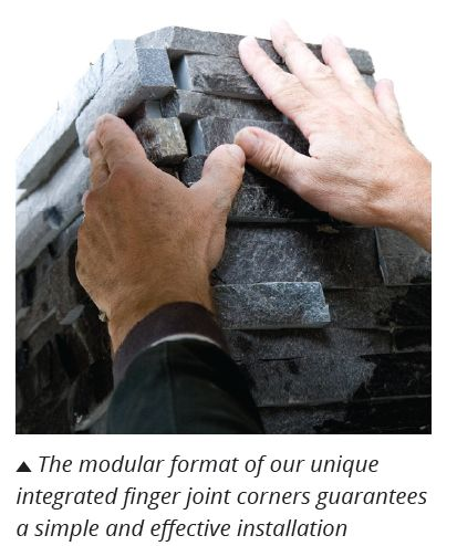 Modular stone cladding corner system with interlocking stone fingers creating a seamless install everytime