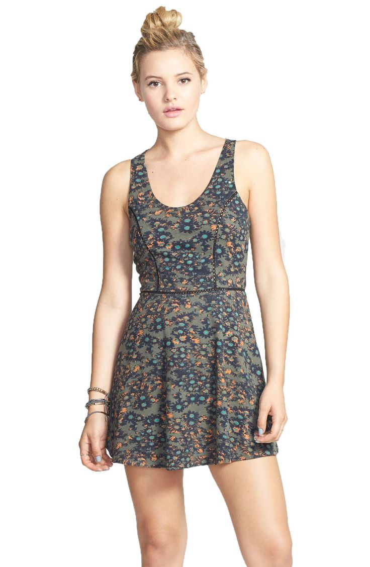 RVCA Juniors Silverleaf Printed Casual Dress-Olive