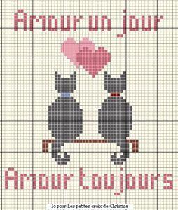amour - love - chat - coeur -  point de croix - cross stitch - Blog : http://broderiemimie44.canalblog.com/