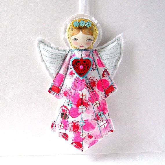 I've always enjoyed seeing the Russian Doll softies from this fab Etsy seller, but imagine my surprise to find gorgeous soft fabric guardian angels in stock too! Guardian Angel Ornament Cloth Angel Doll Angel by zouzoudesign