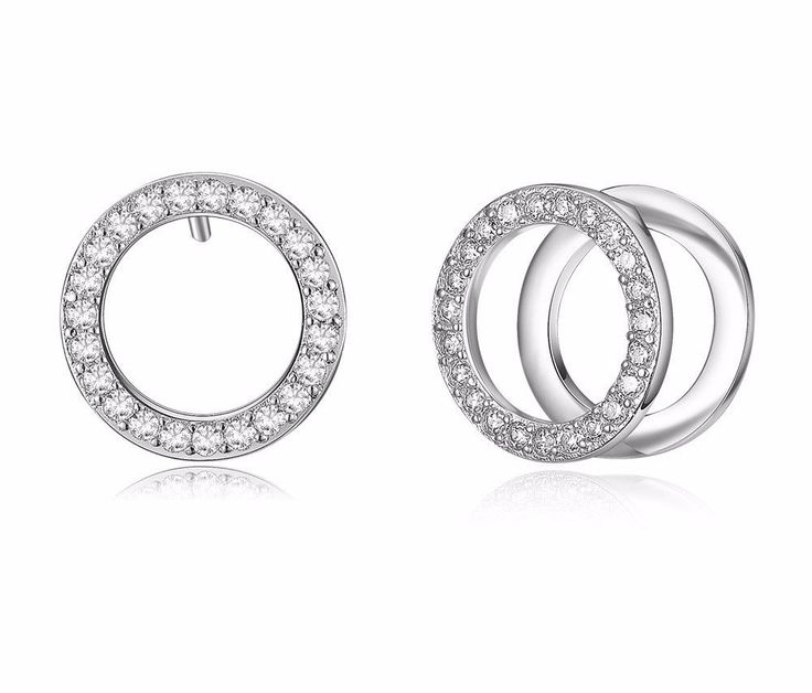 Women Fashion Jewelry Rose Gold & Silver Color Double Circle Stud Earrings for Woman Rhinestone Paved Round Earrings