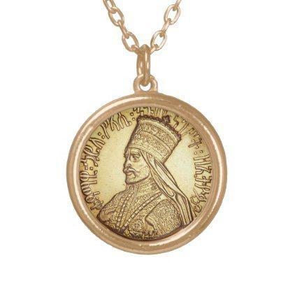 Haile Selassie Empire OF Ethiopia Rastafari chain Gold Plated Necklace - gold gifts golden diy custom