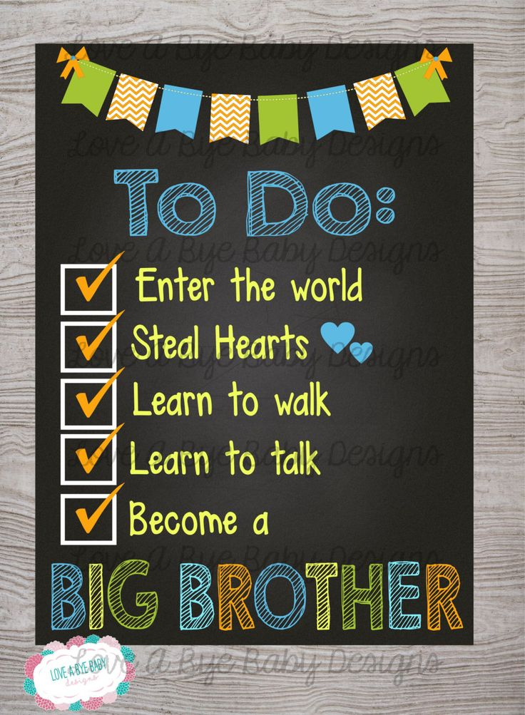 Pregnancy Announcement Chalkboard Poster Second Child - To Do List - Big Brother *DIGITAL FILE* by LoveAByeBabyDesigns on Etsy