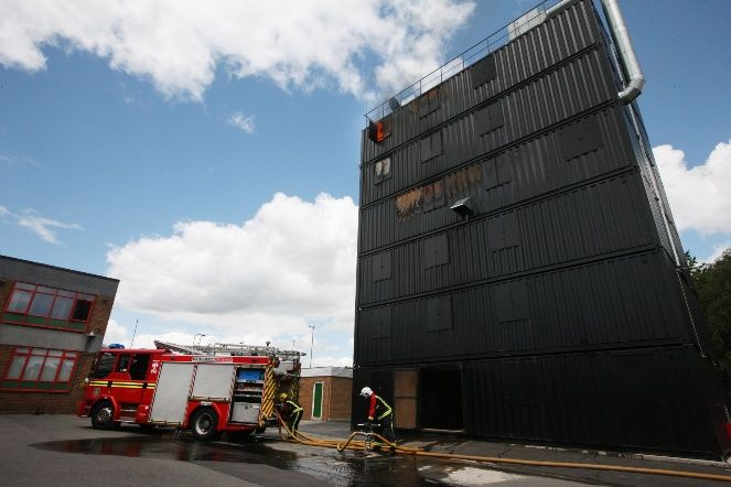 West Midlands Fire Service's new high-rise training facility at Oldbury, which is made out of 18 specially-produced shipping containers.
