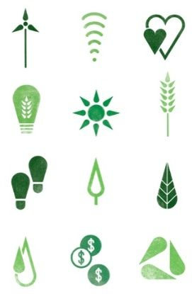 #Icons designed by #Wolff Olins for the Green is Universal branding, the environmental initiative from US broadcasting giant NBC Universal. M.S.