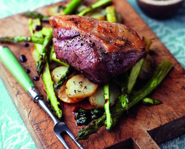 Roasted Lamb Rump with Potatoes, Asparagus and Mint Dressing recipe by Simply Beef and Lamb. Perfectly delicious spring lamb recipe.. Serves 2. Find more great Main Courses recipes at Kitchen Goddess.