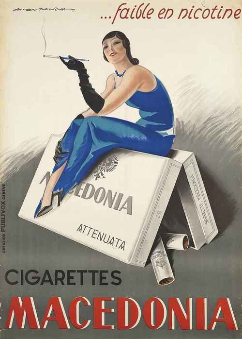"Low nicotin ""...faible en nicotine"". poboh: Vintage Cigarette Poster, by Marcello Dudovich. (1878 - 1962)."