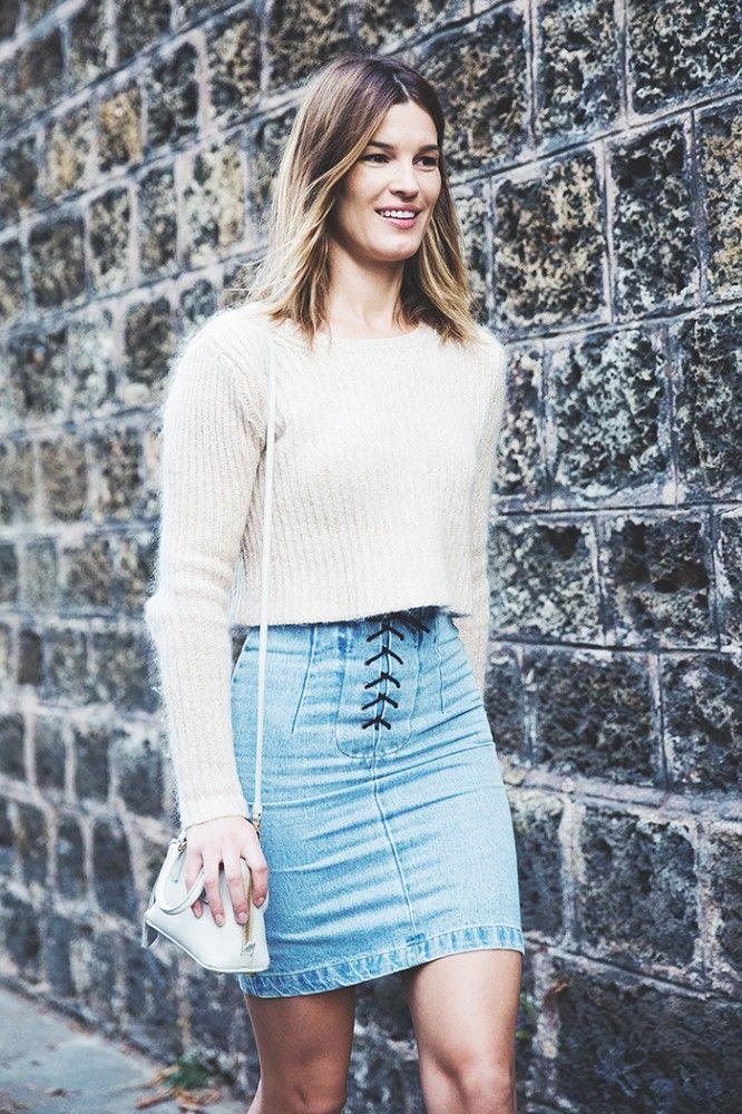 Fuzzy sweater + denim miniskirt