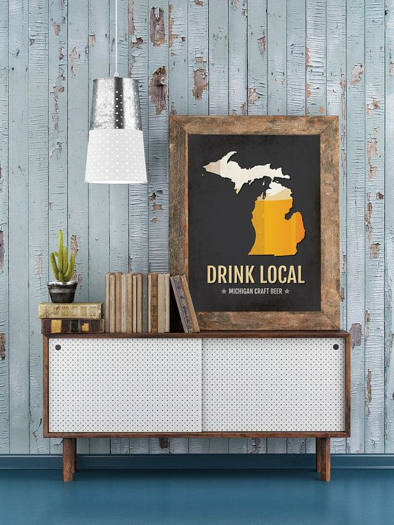 For a limited time, FREE SHIPPING ON ALL PRINTS! (Including framed and canvas prints!)  Is there anything better than tipping back a hand-crafted beer from Michigan? With so many great breweries popping up in Detroit, Lansing, Grand Rapids and Ann Arbor, show your love with this Michigan Craft Beer Print Map which looks great in your home bar, apartment, office, kitchen, studio or any other room in your house. This Craft Beer Sign is a great conversation piece and allows you to celebrate…