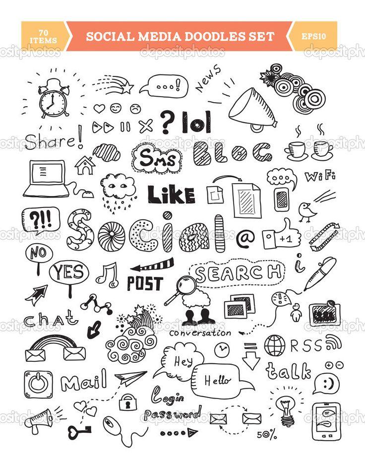 mídias sociais doodle conjunto de elementos - Ilustração de Stock: 24194789