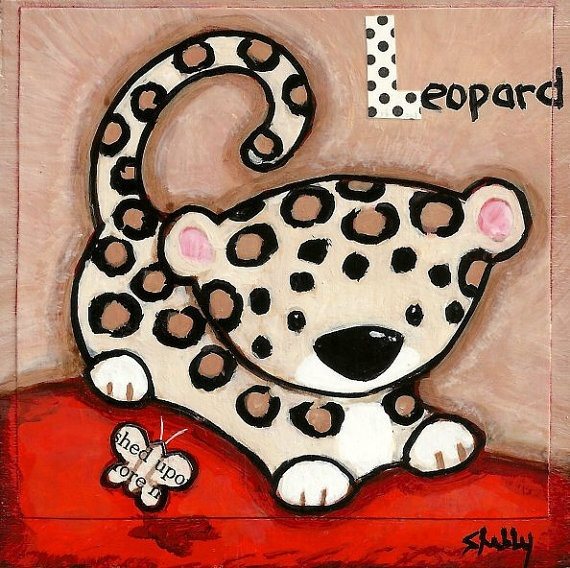 Original Hand Painted Art Baby Leopard Painting by ShellyMundelArt, $35.00
