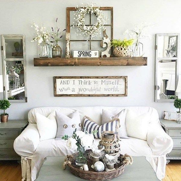 Floating Shelves over Sofa - Angela's Cozy Home
