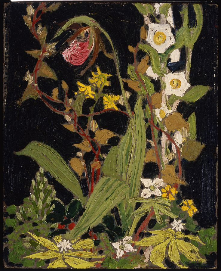 """""""Moccasin Flower,"""" Tom Thomson, 1916, oil on composite wood-pulp board, 10 9/16…"""