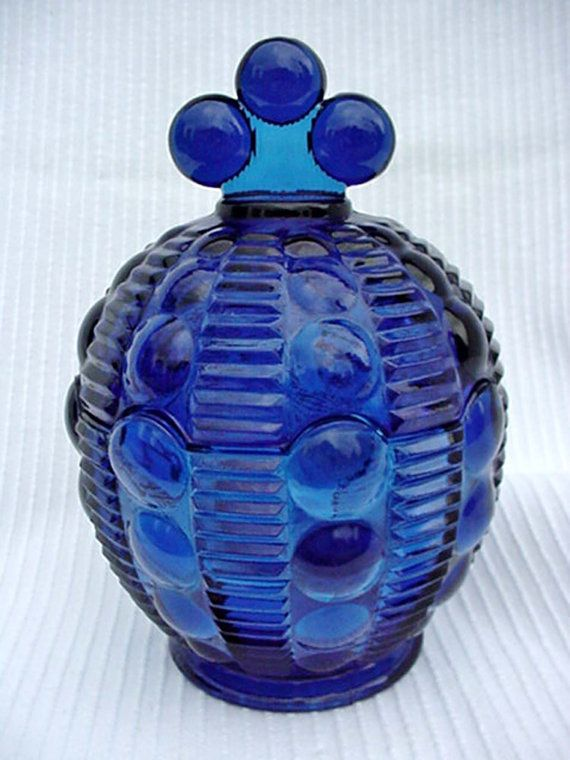 Cobalt Blue Glass Lidded Compote Crown Design Blue Glass Cobalt Glass Home and Garden Kitchen and Dining Serve Ware Tableware Bowls