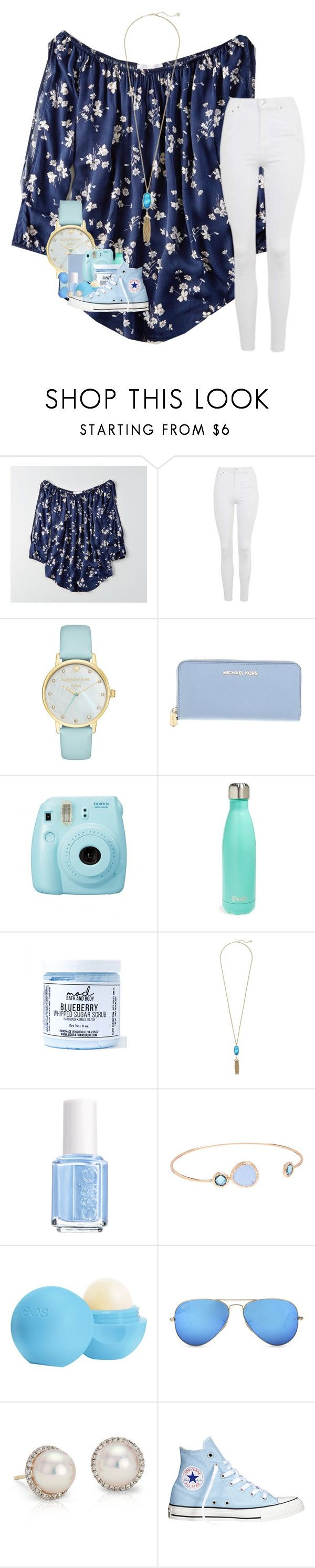 """~blue as the tears that comes down my face~"" by ajgswim on Polyvore featuring American Eagle Outfitters, Topshop, Kate Spade, Michael Kors, Fuji, S'well, Mod Bath and Body, Kendra Scott, Essie and Flint & Mortar"