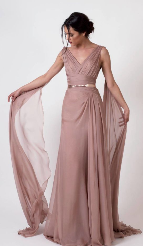 Elegant rose colored bridesmaid dress with gold belted waist; Featured Dress: Abed Mahfouz