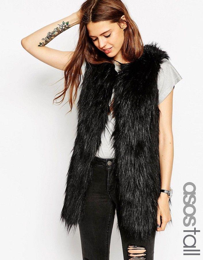 ASOS Tall ASOS TALL Vintage Longline Faux Fur Gilet - Black