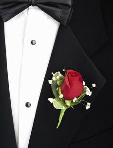 groom, red rose boutineer