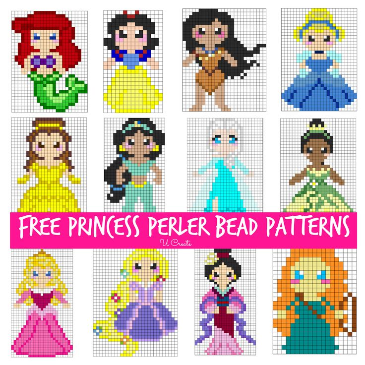 Free Princess Perler Bead Patterns for Kids! u-createcrafts.com