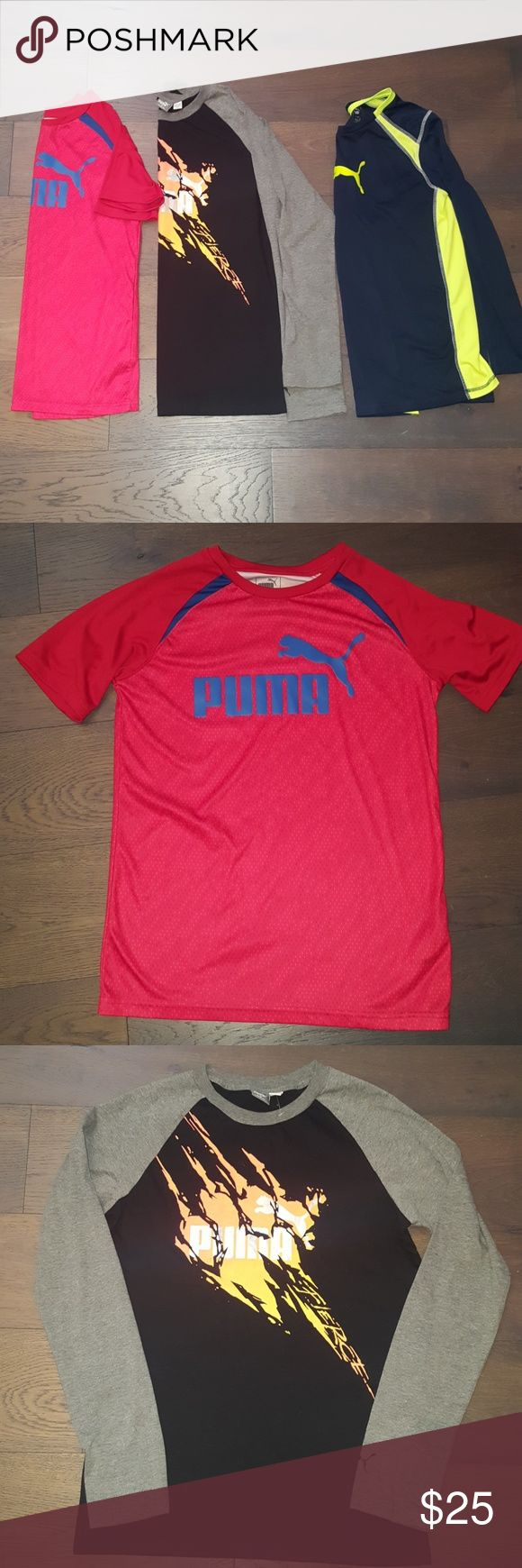 Boys Puma Shirt Set Junior Boys shirts in excellent condition. Selling as a 3 pc. My son grew out of them quickly and hardly wore them. Red and black shirt were never worn, no tags, blue one worn a few times.  Blk shirt is size XL (18-20) red and blue shirt size L (14-16). No stains, no holes, no rips. Puma Shirts & Tops Tees - Long Sleeve