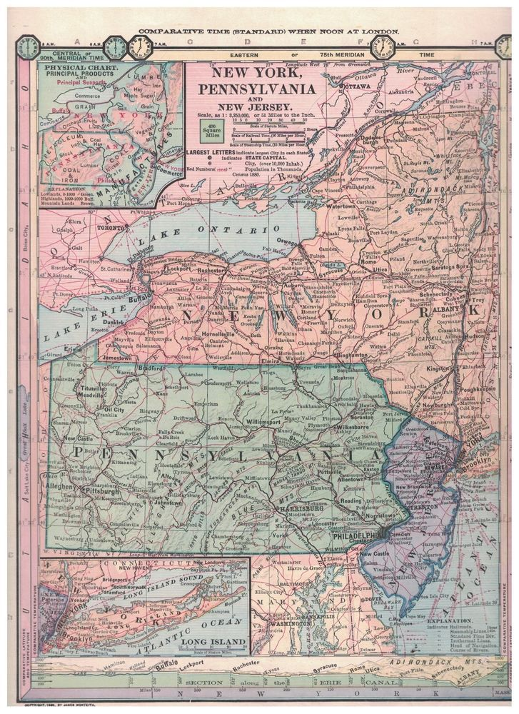 Map Of New York Pa.1885 Map Of New York Pennsylvania And New Jersey Bubblehead Paper