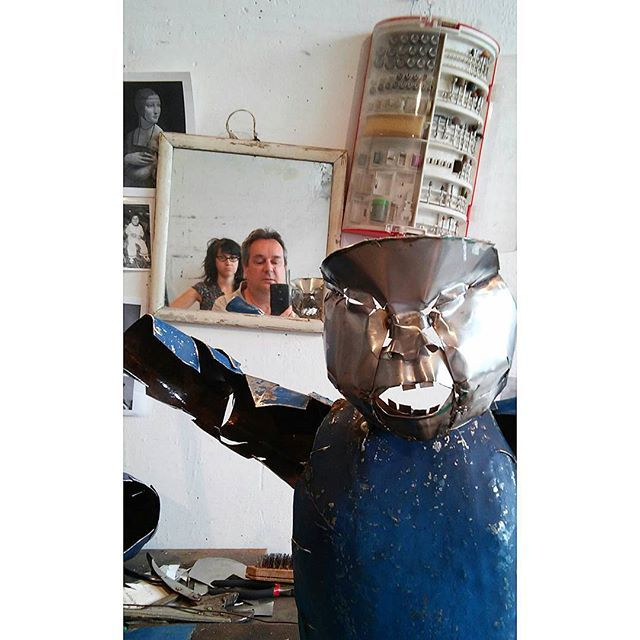 Selfie with Judit Rabóczky in the atist's atelier, 2015