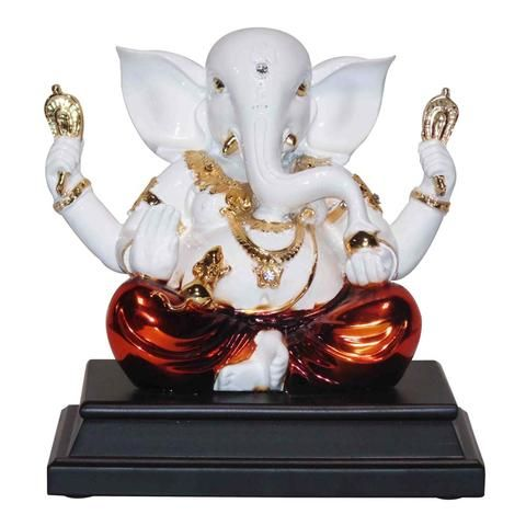 Blessings Ganesh, Marble look with Colored Electroplating , made of Polystone.  See more handcrafted spiritual idols online at craftsvenue.