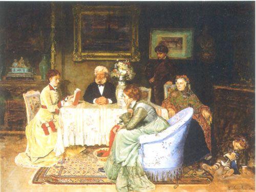 LA LECTURA, 1874 Óleo sobre Tela 108 x 146 cm Colección Museo Nacional de Bellas Artes