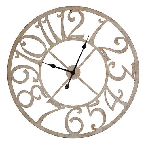 this round time open work metal wall clock measures 29 inches in diameter the clock runs on a single aa battery not included