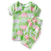 For child's safety, cotton pjs should always fit snugly. Cute allover frog print makes these pjs just right for her bedtime.