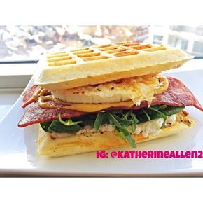 Ripped Recipes - Savoury Low-Carb Waffle Breakfast Sandwich - There is no better way to start your morning than with health comfort food, and savoury waffles are a great way to do so! I filled these waffles with turkey bacon, arugula, egg white, and ricotta - it was to die for