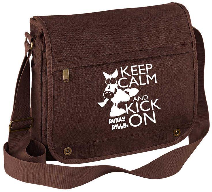 Keep Calm and Kick On Vintage Canvas Messenger Bag