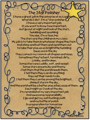 A printable of this sweet poem to print and be reminded of our job as teachers - star polishers!