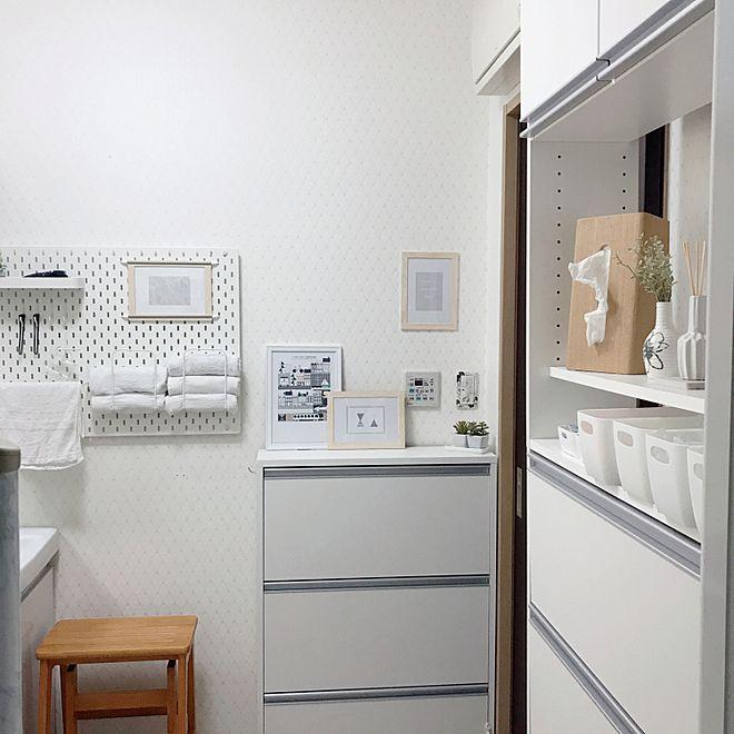 ドアの色をかえたい。/狭い洗面所&脱衣所/限界の引き/ミックスインテリア/ホワイトインテリア…などのインテリア実例 – 2019-03-12 21:28:23   RoomClip(ルームクリップ)