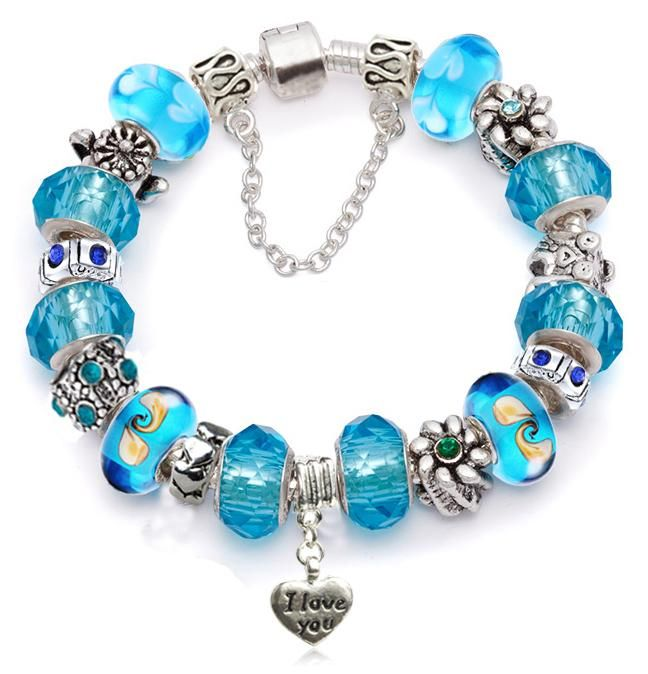 New Designed Murano Glass Cz Crystal Silver European Beads Charm Bracelet