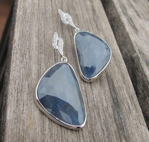 Blue Sapphire Earrings Sapphire Earrings September by Belesas